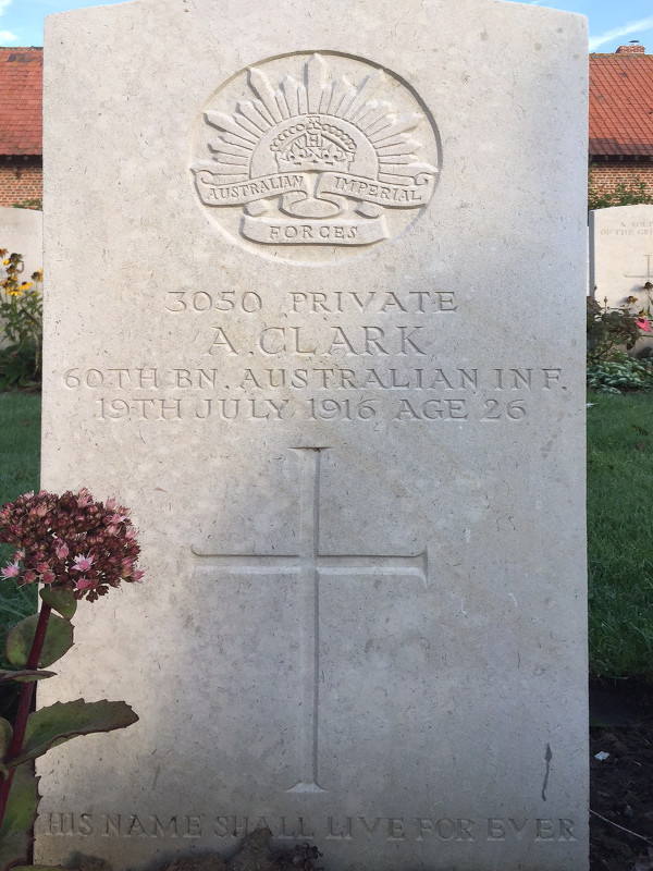 Headstone at Y Farm Military Cemetery