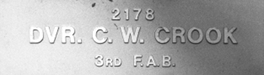 Image of plaque on tree S078 for Cecil Crook