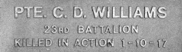 Image of plaque on tree S276 for Clifford Williams